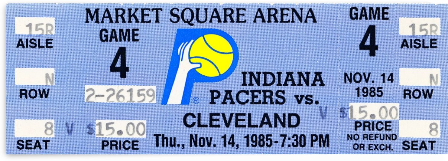 1985 indiana pacers vintage nba ticket stub wall art canvas by Row One Brand