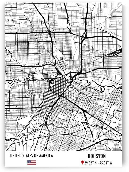 Houston USA Map by Artistic Paradigms