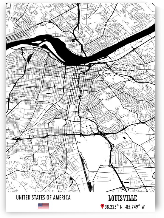 Louisville USA Map by Artistic Paradigms