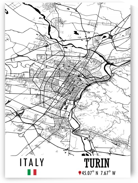 Turin ITALY Map by Artistic Paradigms