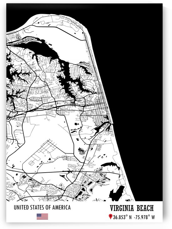 Virginia Beach USA Map by Artistic Paradigms