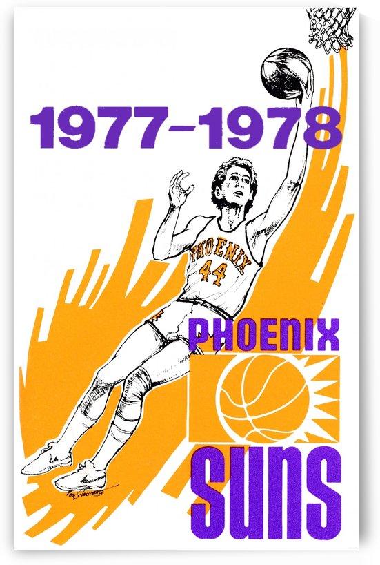 1977 phoenix suns retro nba basketball poster art by Row One Brand