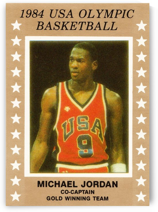1984 usa olympic basketball gold medal michael jordan wood print by Row One Brand