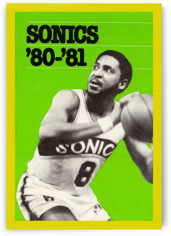 1980 lonnie shelton seattle supersonics vintage basketball poster by Row One Brand