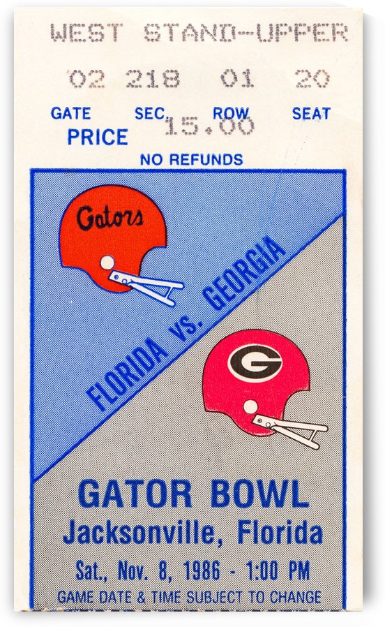 1986 florida georgia bulldogs football ticket stub poster by Row One Brand