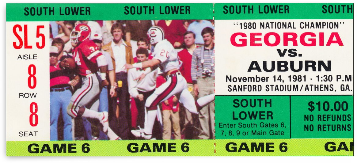 1981 auburn georgia sec college football ticket stub canvas wall art by Row One Brand