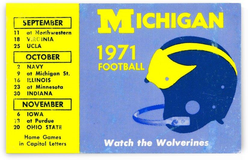 1971 Michigan Football Helmet Art by Row One Brand