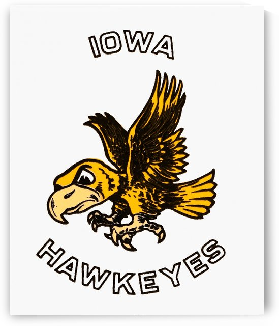 vintage iowa hawkeyes wood signs college mascot art by Row One Brand