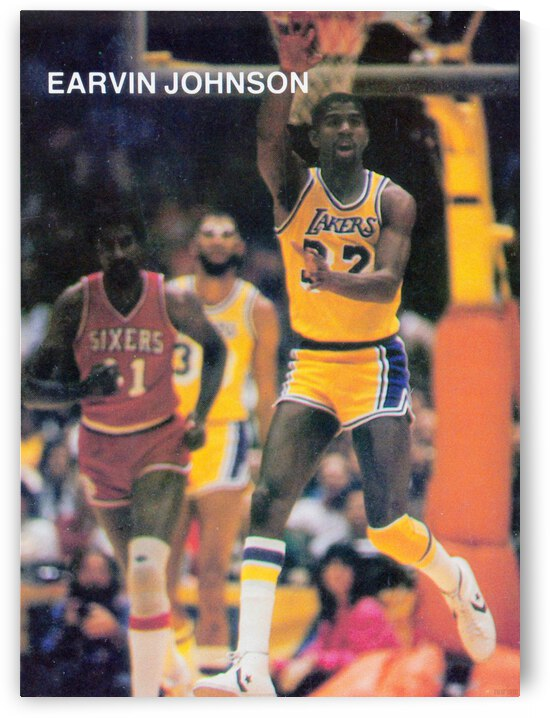 1983 los angeles la lakers magic johnson retro basketball poster by Row One Brand