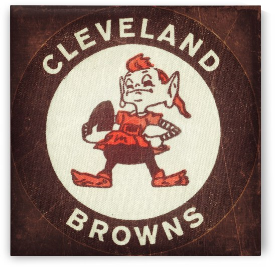 vintage cleveland browns brownie elf nfl mascot art reproduction  by Row One Brand