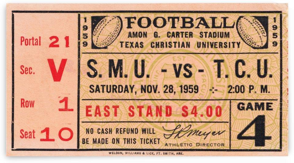 1959 texas christian tcu football amon g carter stadium ft worth ticket stub art by Row One Brand
