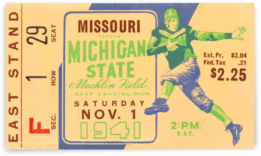 1941 michigan state football vintage ticket wall art row 1 by Row One Brand