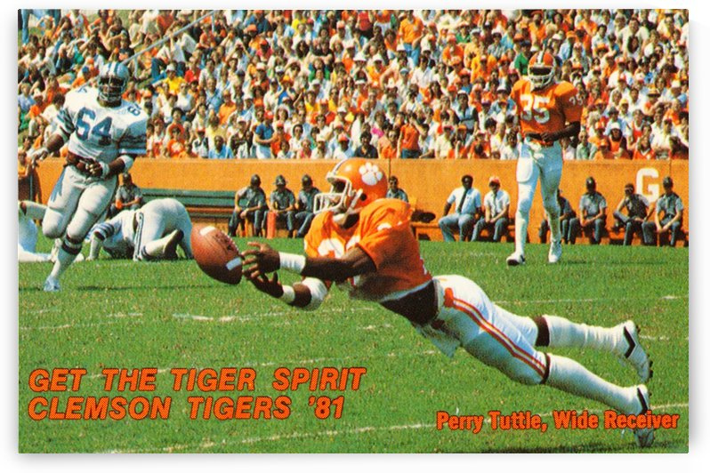 1981 clemson tigers football perry tuttle wide receiver by Row One Brand