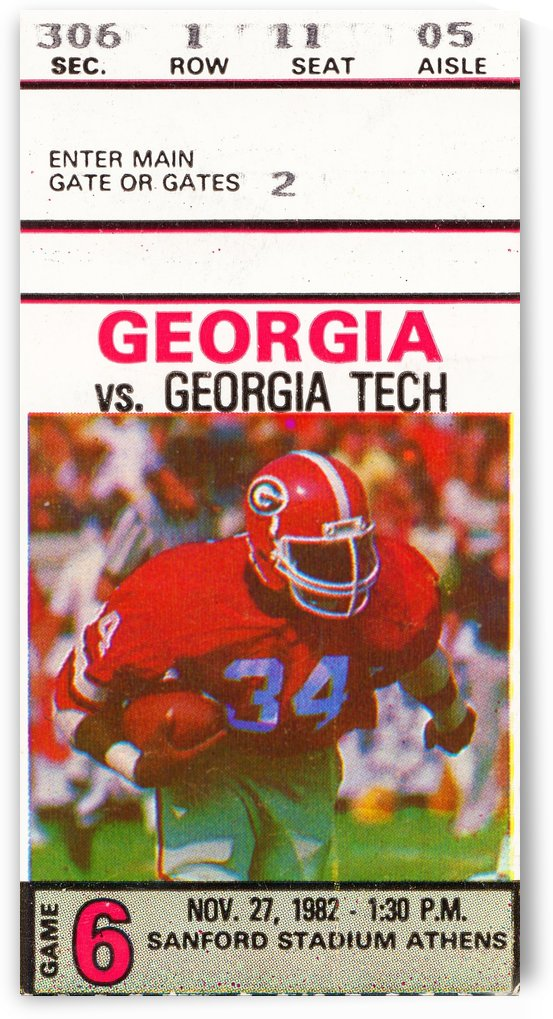 1982 georgia bulldogs herschel walker ticket stub wall art by Row One Brand
