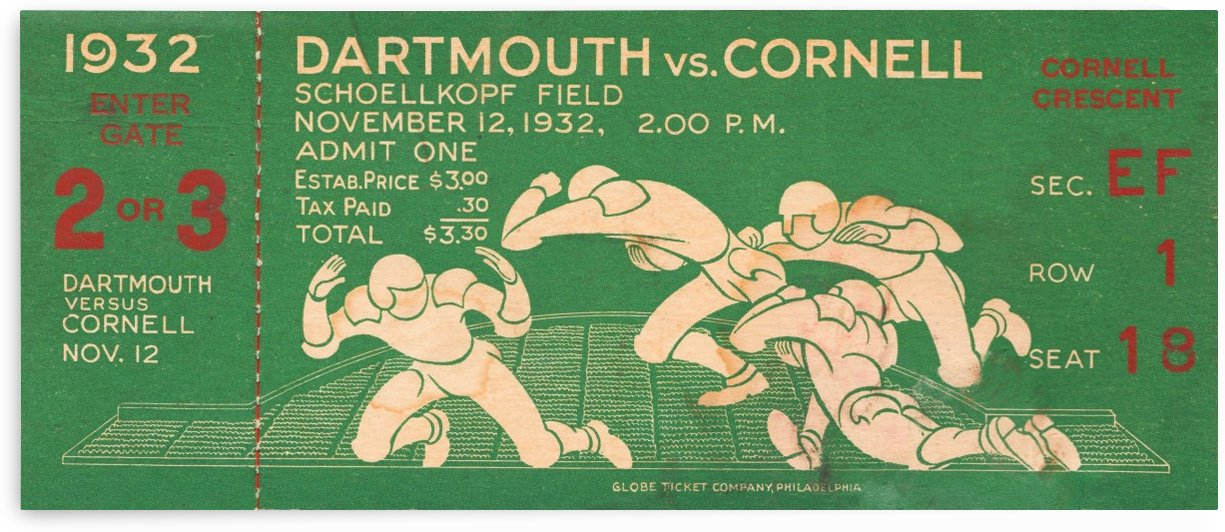 1932 dartmouth cornell football ticket stub art canvas row 1 by Row One Brand