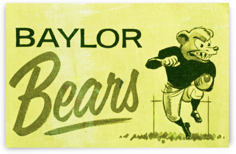 1955_College_Football_Baylor Bears_Cartoon College Mascot Art by Row One Brand