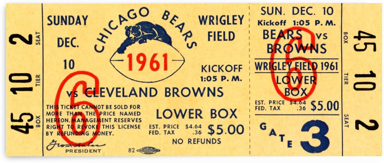 1961_National Football League_Cleveland Browns vs. Chicago Bears_Wrigley Field_Ticket Stub Art by Row One Brand