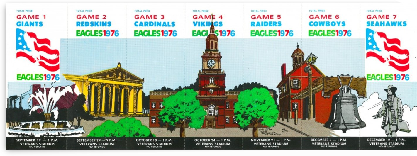 1976 Vintage Philadelphia Eagles NFL Season Ticket Strip by Row One Brand