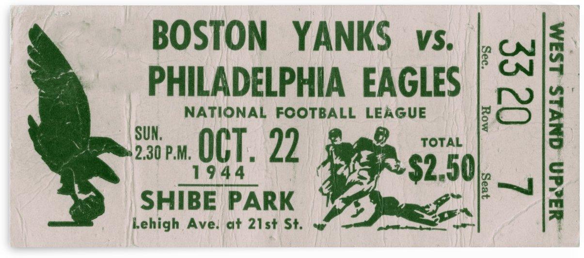 1944 philadelphia eagles boston yanks vintage football ticket stub art  by Row One Brand