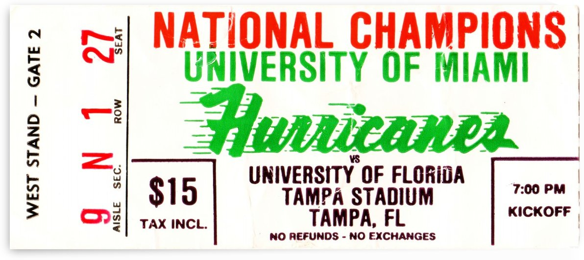 1984 college football ticket stub miami florida hurricanes  by Row One Brand