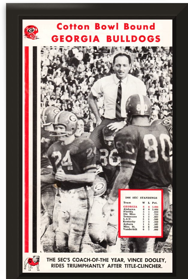 1966 Georgia Bulldogs Vince Dooley Poster by Row One Brand
