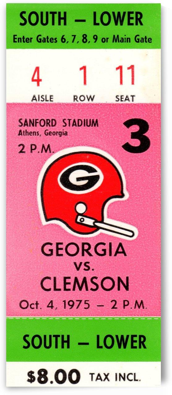 1975 college football clemson georgia bulldogs sanford stadium athens ticket stub canvas by Row One Brand