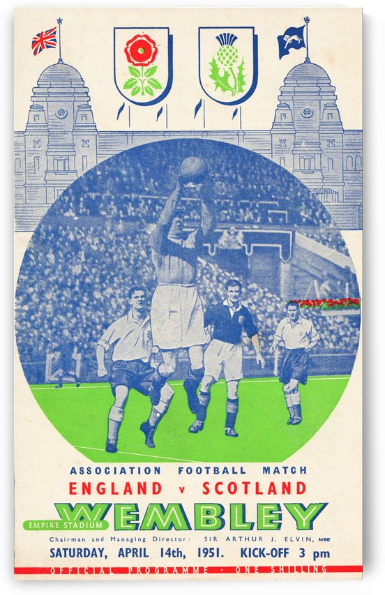 european soccer association football match england scotland poster 1951 by Row One Brand