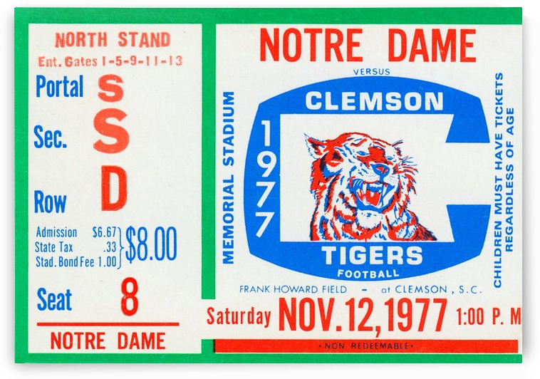 1977 Notre Dame vs. Clemson by Row One Brand