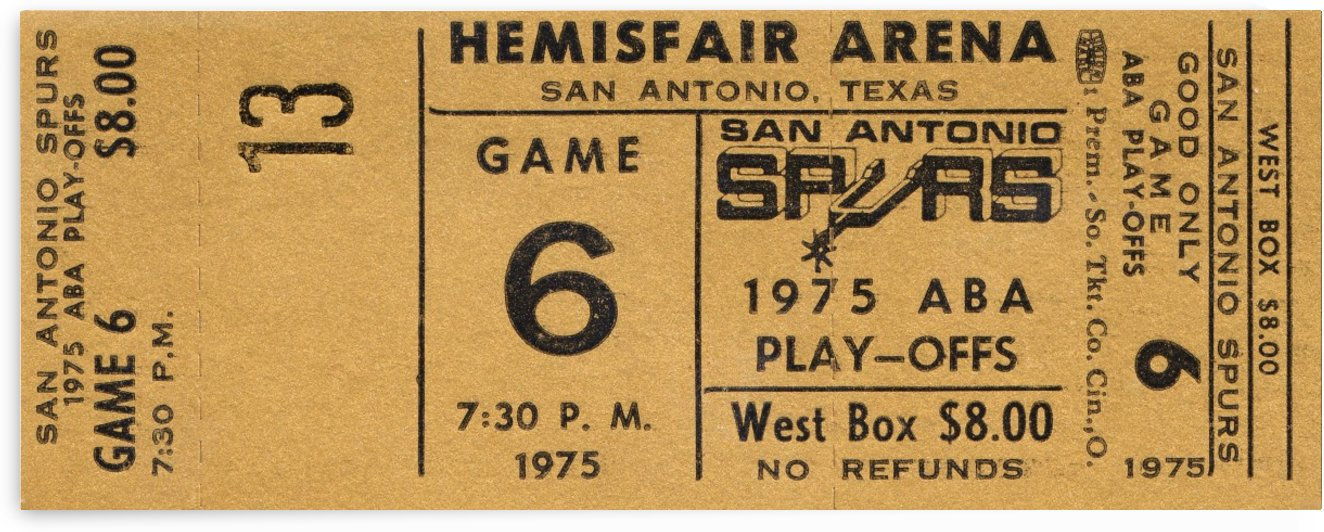 1975 ABA San Antonio Spurs Basketball Ticket Art by Row One Brand