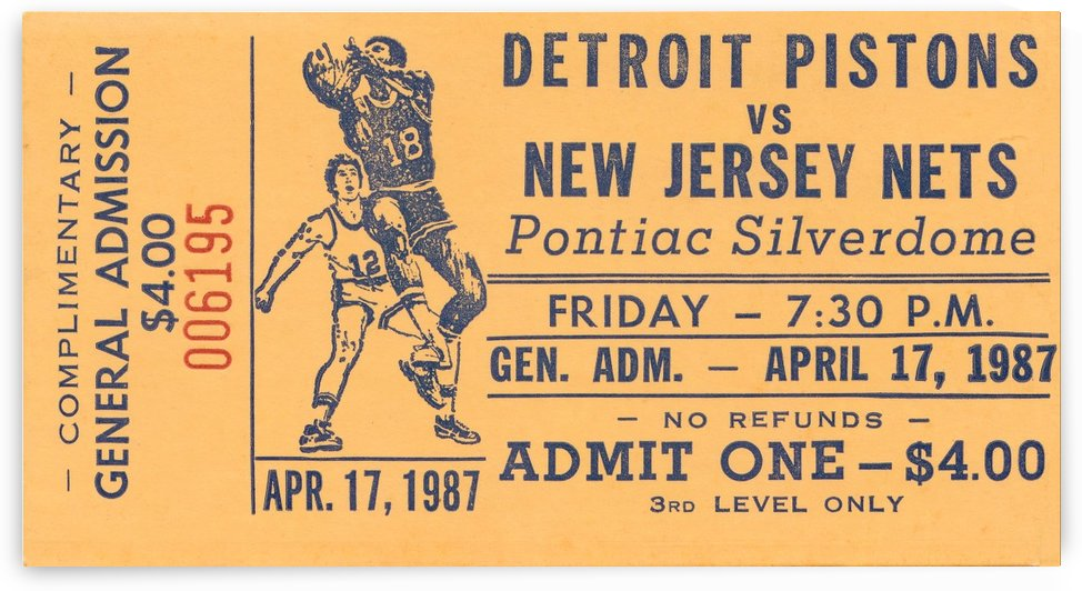 1987 nba detroit pistons new jersey nets pontiac silverdome by Row One Brand