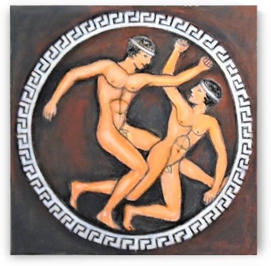 Ancient greek plate Young athletes by Varvara Vitkovska
