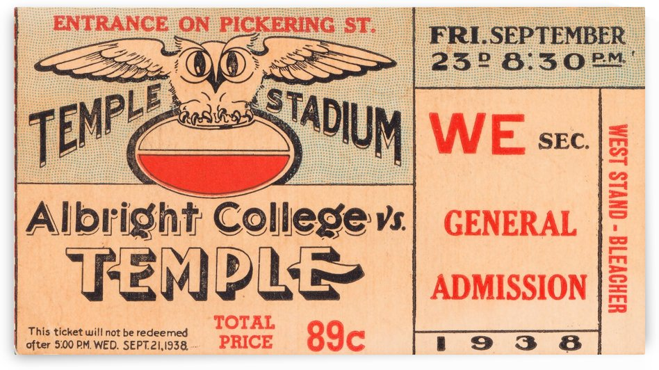 1938 albright college temple owls football vintage ticket stub art by Row One Brand