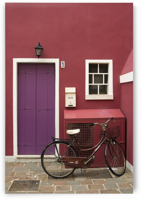 Bicycle and Red Painted House Italy by Petr Svarc