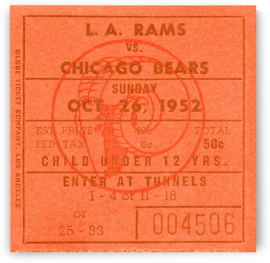 1952 la rams chicago bears nfl ticket art wood print by Row One Brand