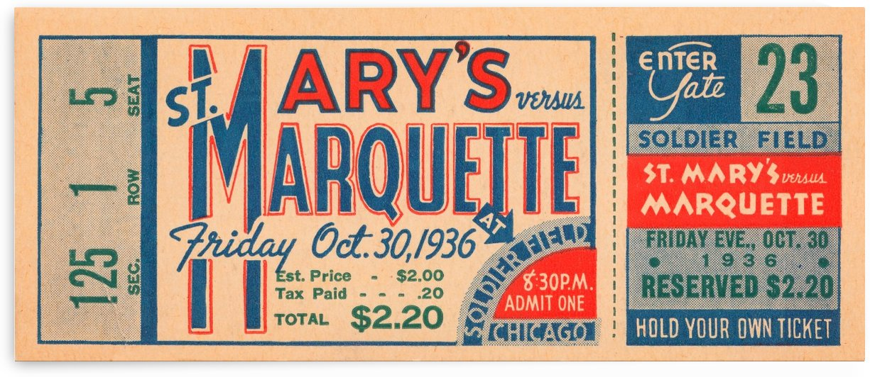 1936 st marys marquette soldier field chicago college football art by Row One Brand