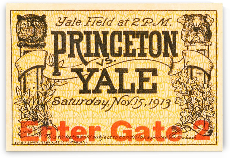 1913 princeton yale college football ticket art sports gifts by Row One Brand