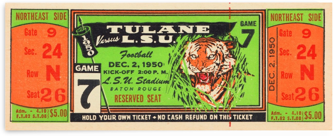 1950 tulane lsu tigers college football ticket sports art gifts baton rouge la by Row One Brand