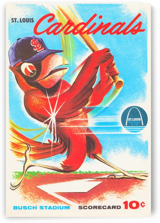 1964 st louis cardinals busch stadium scorecard baseball art by Row One Brand