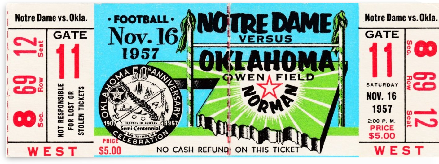 1957 notre dame oklahoma college football 47 game win streak ended ncaa record by Row One Brand