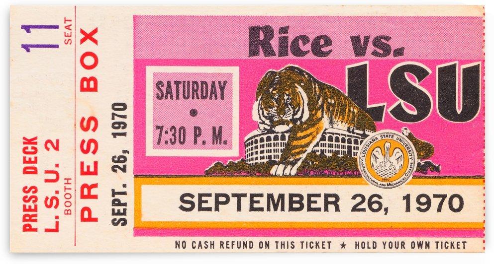 1970 lsu tigers football ticket stub canvas art print by Row One Brand