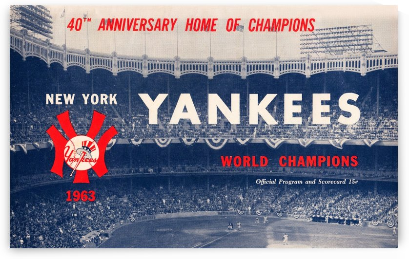 1963 new york yankees world champions scorecard canvas by Row One Brand
