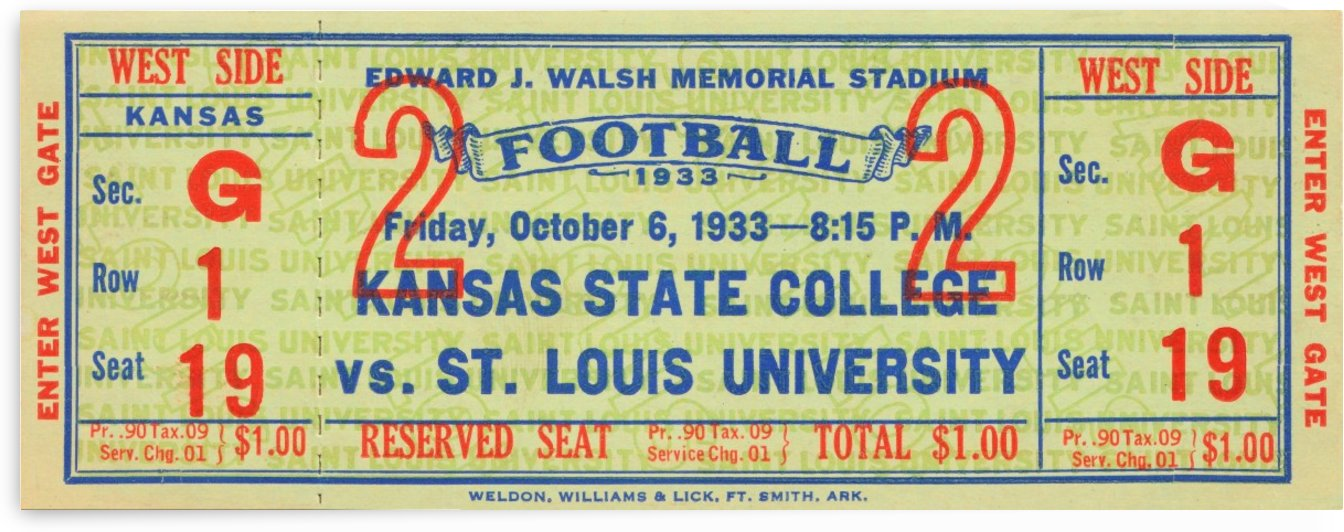 1933 Kansas State College vs. St. Louis University by Row One Brand