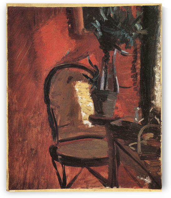 Chair with a plant in front of red wall by Anna Ancher by Anna Ancher