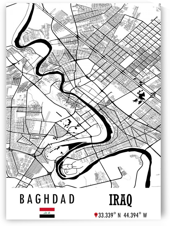Baghdad IRAQ Map by Artistic Paradigms