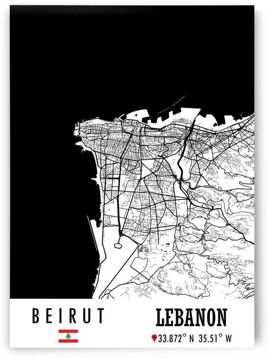 Beirut LEBANON Map by Artistic Paradigms