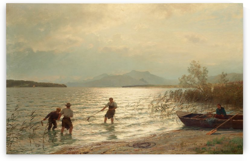 Strandnara fiske by Hans Fredrik Gude