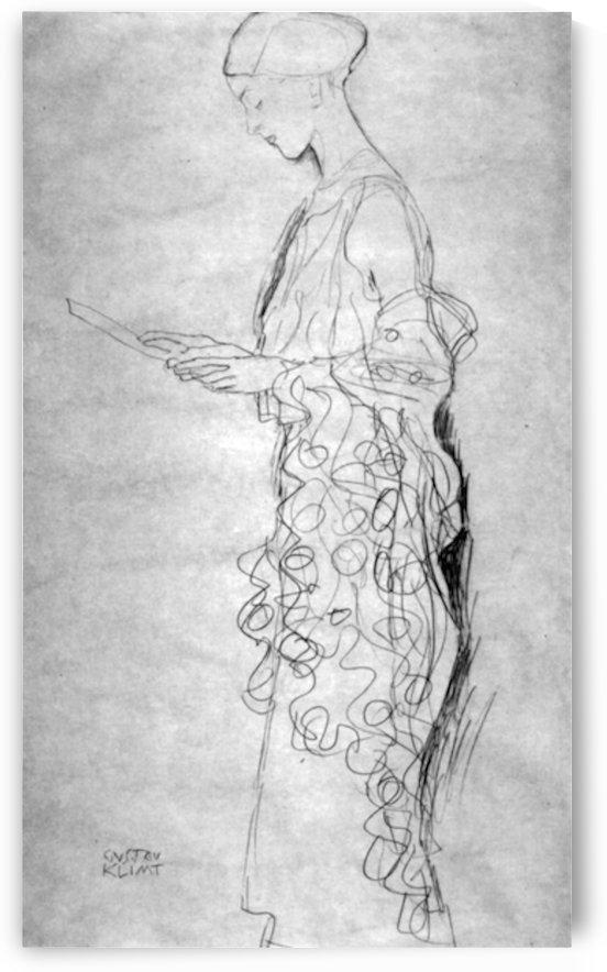 Lesendes girl in profile by Klimt by Klimt