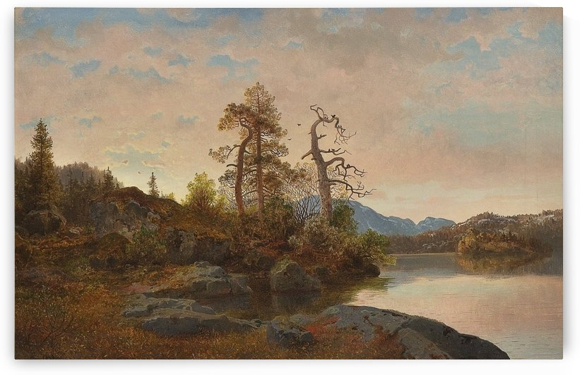 Forest Landscape with Lake by Hans Fredrik Gude