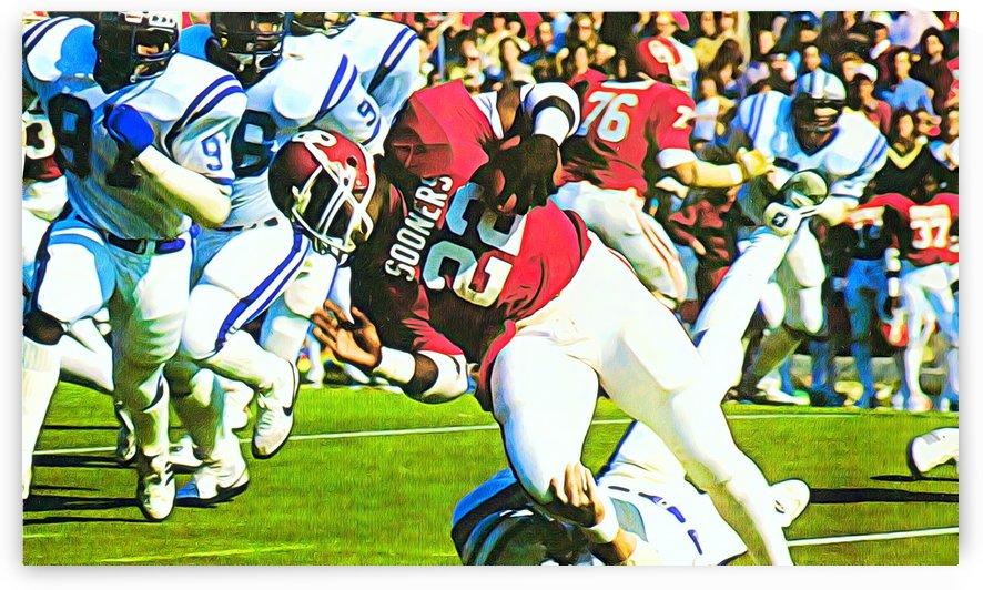1982 Marcus Dupree Oklahoma Football Art by Row One Brand