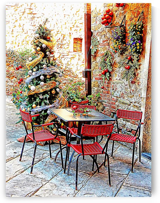 Dining Outside at Christmas Panicale by Dorothy Berry-Lound